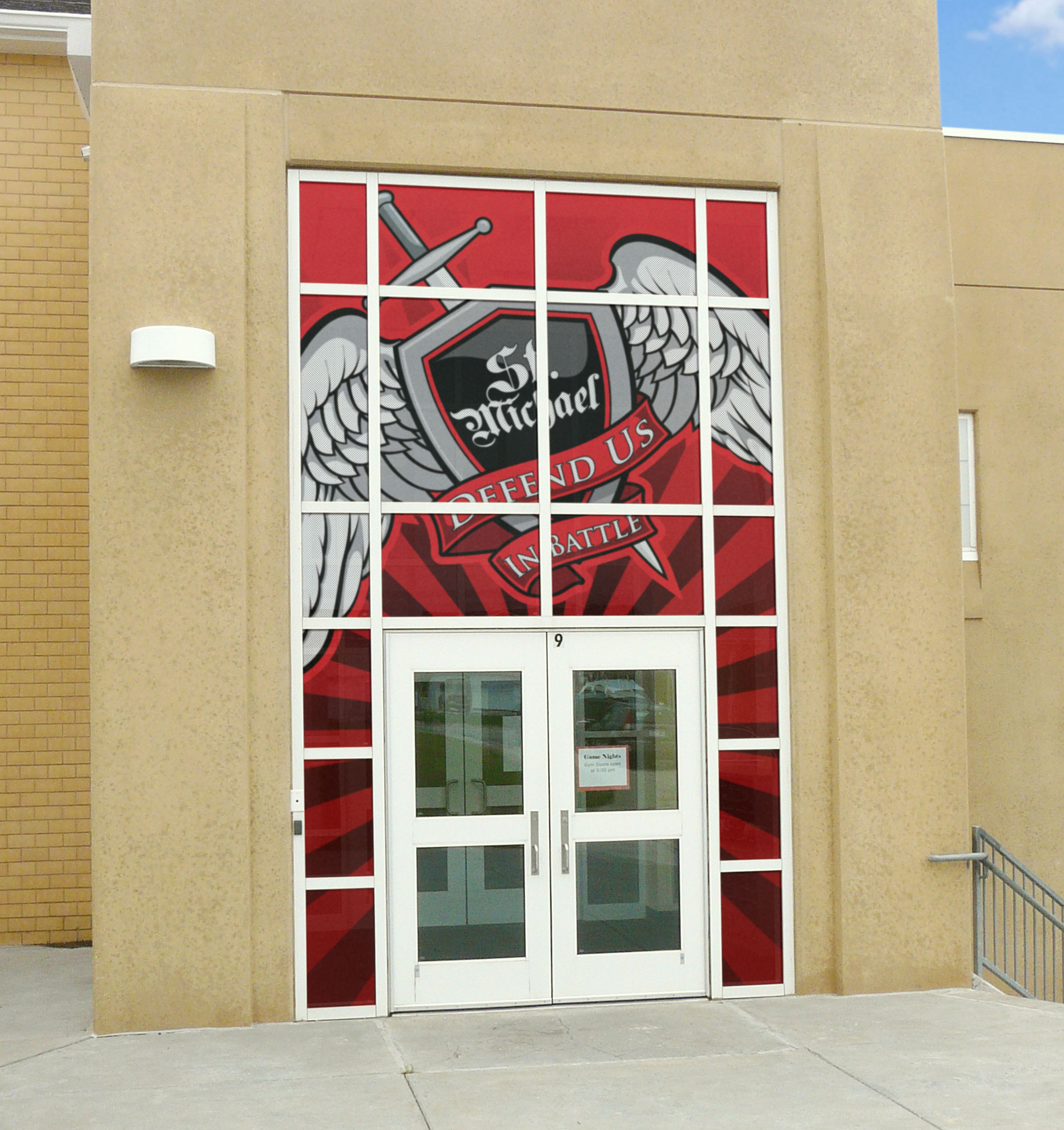Window Graphics Product : Perforated two way window decals bison inc