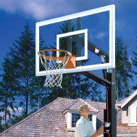 "Lottery Pick ZipCrank 4"" pole with 54"" Backboard Adjustable Basketball System"