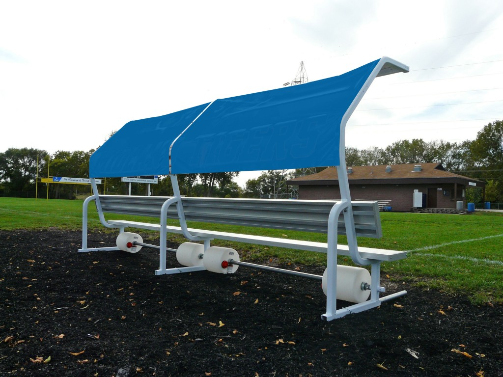 Portable 15′ No Tip Covered Bench w/Solid Color Cover 1