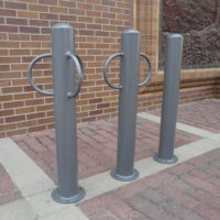Bollard with optional bike lock loops