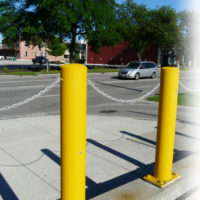 Concrete fillable bollard with optional chain eyes 3