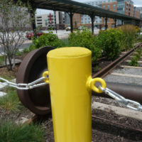Concrete fillable bollard with optional chain eyes 4