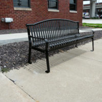Express Ship vertical slat arched back memorial bench