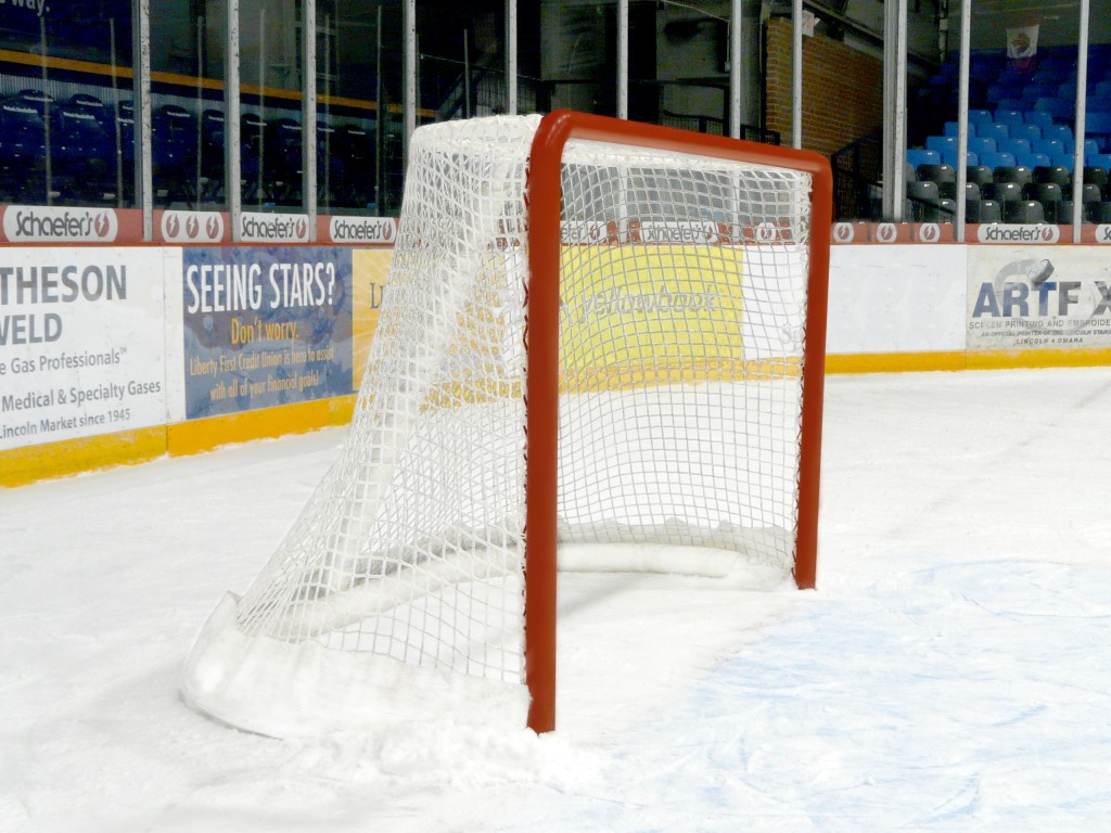 Competition Ice Hockey Goals with Nets, Cushions and Steel Freeze Pins (Pair) 1