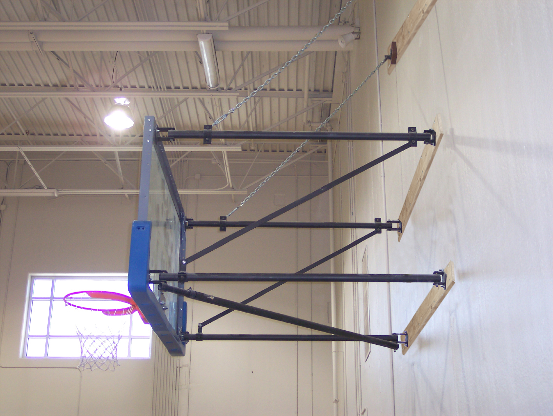Built to order side fold wall mount backboard structure for Basketball hoop inside garage