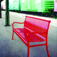 Manchester vertical slat backed bench with steel bar ends