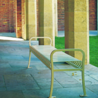 Manchester vertical slat backless bench with steel bar ends
