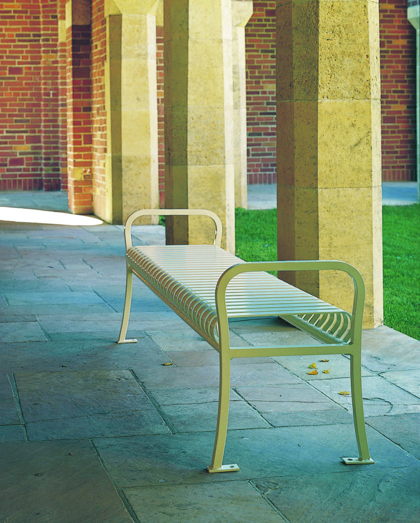Manchester vertical slat backless bench with steel bar ends 1