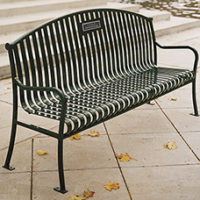 "Manchester 72"" arched back memorial bench with steel bar ends"