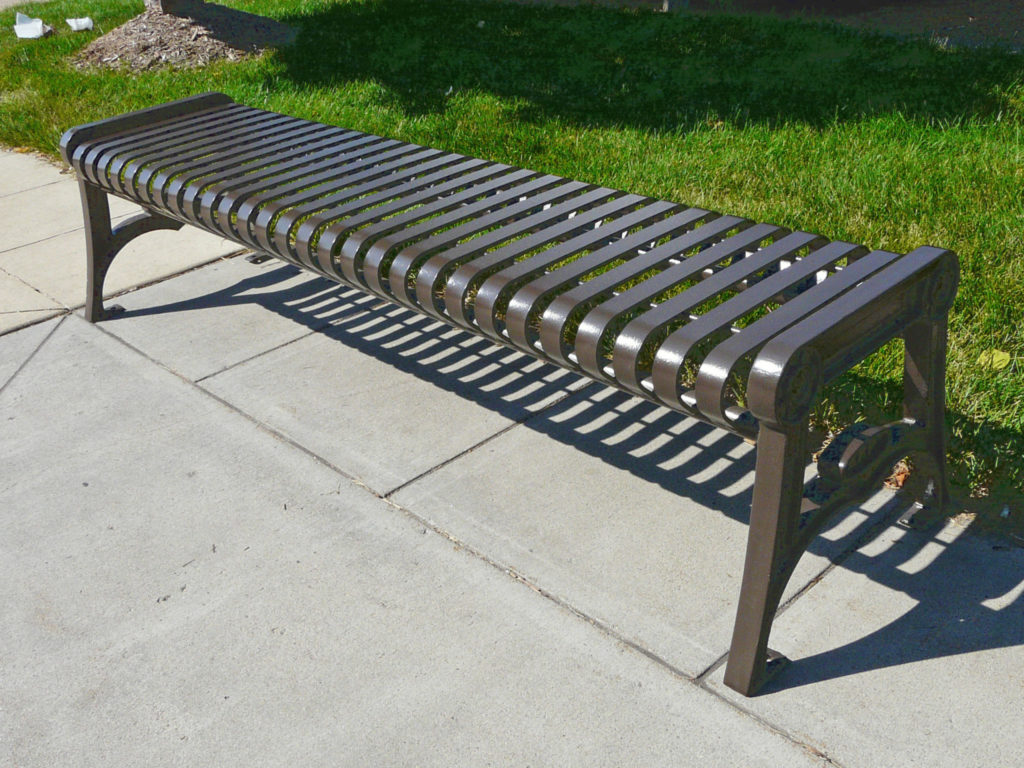 Manchester vertical slat backless bench with cast iron ends 1