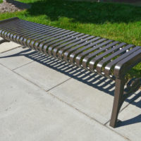 Manchester vertical slat backless bench with cast iron ends