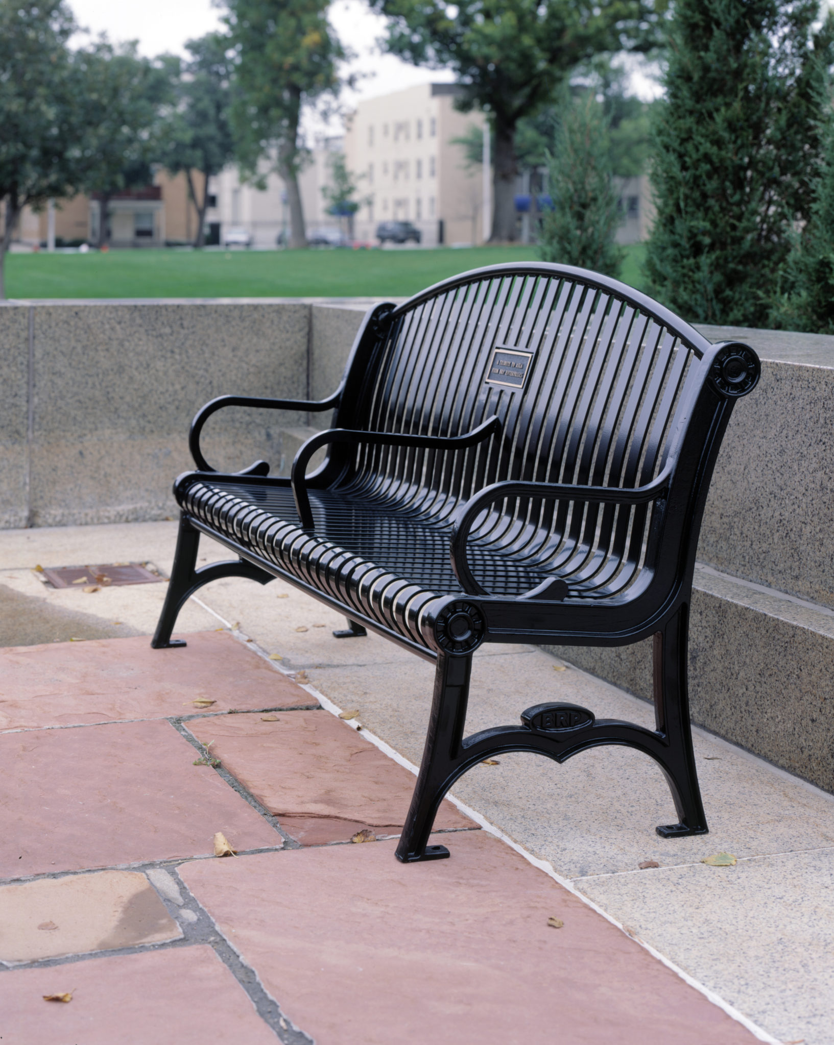 Peachy Manchester Vertical Slat Arched Back Memorial Bench With Cast Iron Ends Short Links Chair Design For Home Short Linksinfo