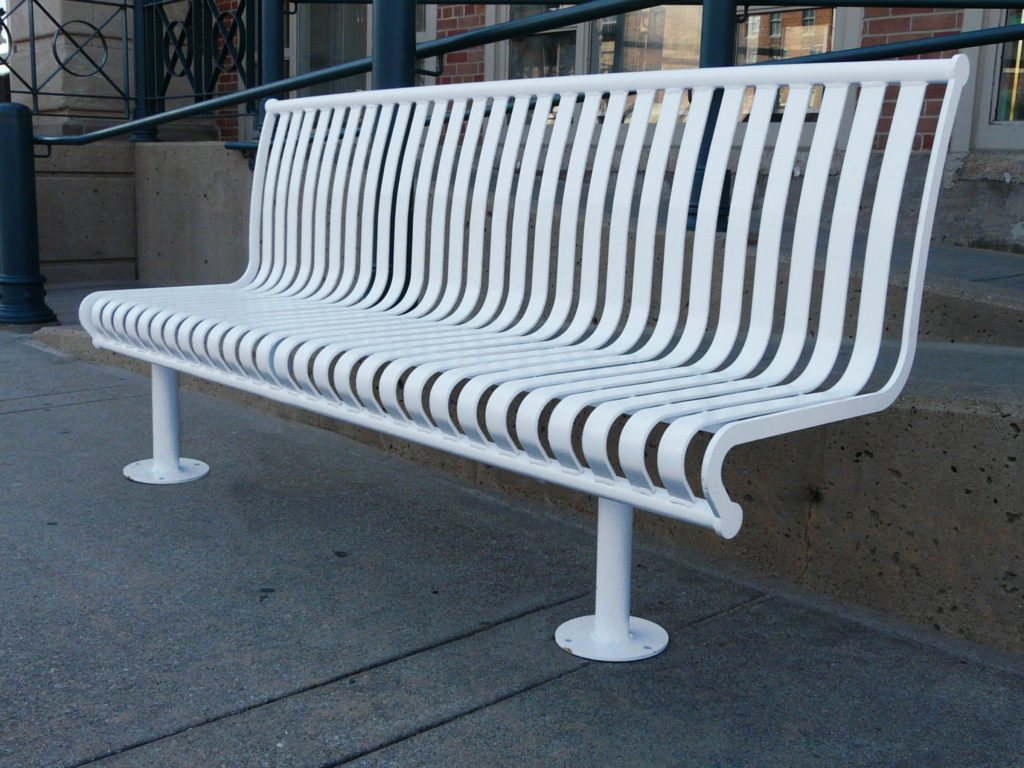 Manchester vertical slat backed bench with tubular mounting 1