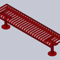 Manchester vertical slat backless bench with tubular mounting