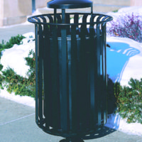 Manchester top load round 32 gallon litter receptacle with pedestal