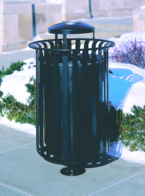 Manchester top load round 32 gallon litter receptacle with pedestal 1