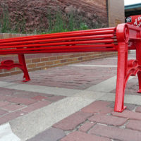 Papio Signature horizontal rod backless bench with cast iron ends