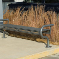 Papio Signature horizontal rod backless bench with signature tubular ends