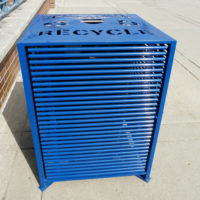 Papio Signature top load square blue recycling receptacle