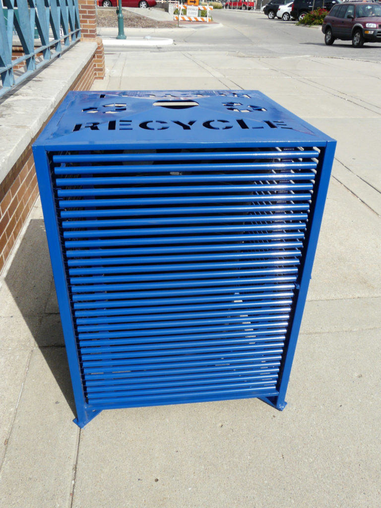 Papio Signature top load square blue recycling receptacle 1