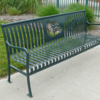 Private Collection customizable backed bench with steel bar ends