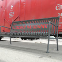Private Collection customizable backed bench with steel bar ends 2