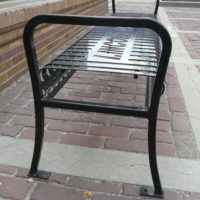 Private Collection customizable backless bench with steel bar ends