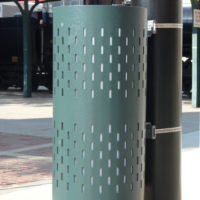 Space Saver pole mount litter receptacle
