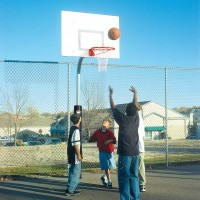 "3 1/2"" Tough Duty Rectangle Steel Playground Basketball System"