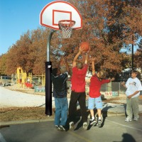 "4 1/2"" Heavy Duty Finished Aluminum Fan Playground Basketball System"