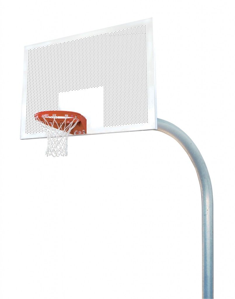 5 9/16″ Mega Duty 42″x72″ Perforated Steel Playground Basketball System 1