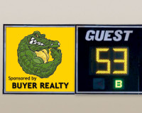 "Wall Mount Basketball Scoreboard 144"" x 35"" x 6"""