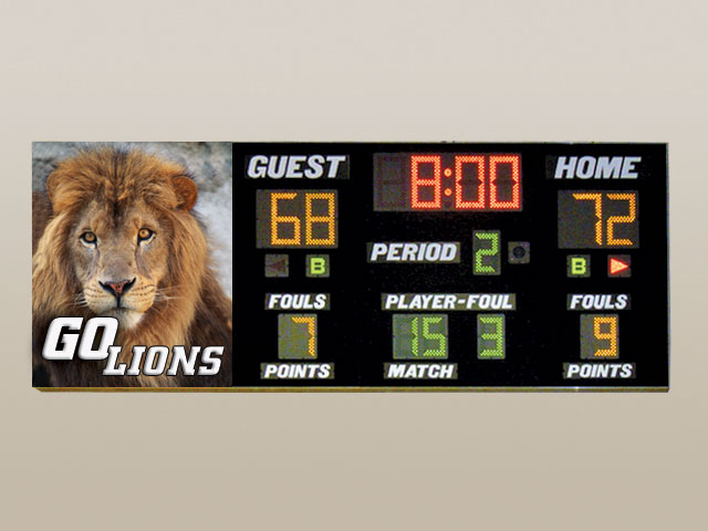 Wall Mount Basketball Scoreboard 156″ x 60″ x 6″ 1