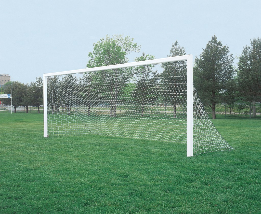 24′ x 8′ Competition Aluminum Permanent/Semi-permanent In-Ground Soccer Goals 1