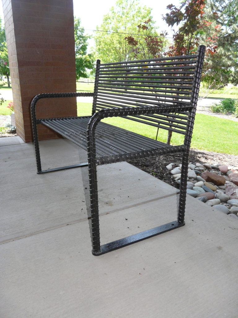 Urban Renewal backed bench with rebar ends 1