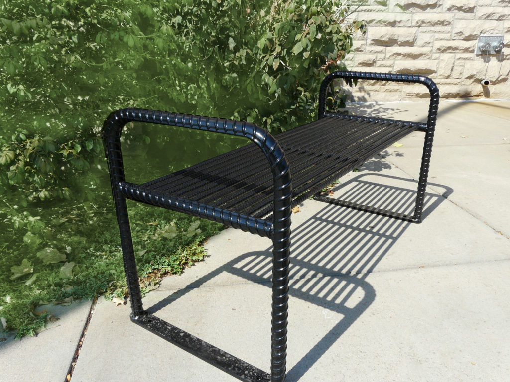 Urban Renewal backless bench with rebar ends 1
