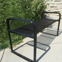 Urban Renewal backless bench with rebar ends