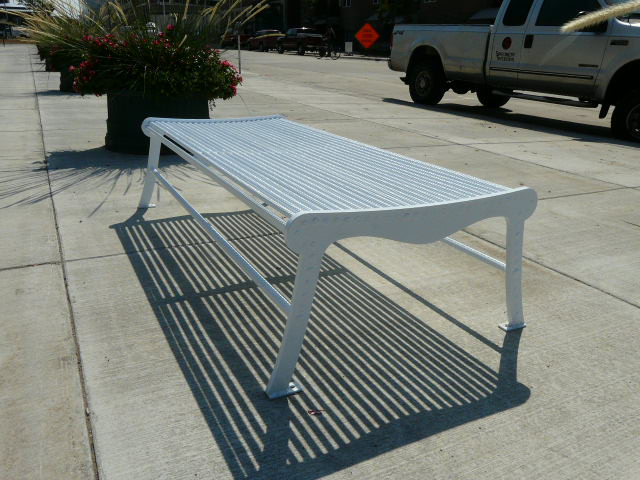 Urban Renewal double width backless bench with laser cut ends 1