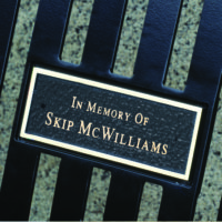 Laser etched memorial plaque for all arched back memorial benches