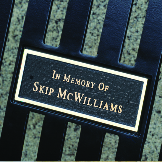 Laser etched memorial plaque for all arched back memorial benches 1